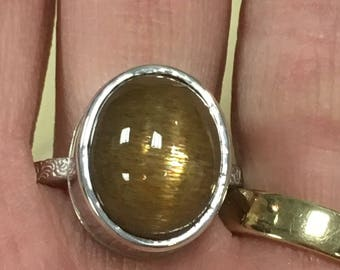 High Dome Cats Eye Sunstone Ring