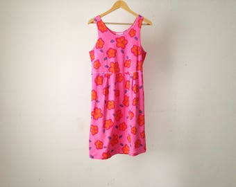 grunge 90s FLORAL hot pink vintage BABYDOLL slouchy twin peaks dress