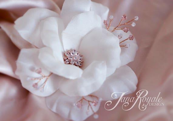 Wedding Hair Flowers - Rose Gold Accessories - Bridal Hairpiece - Hair Accessories - Rose Gold Crystal Flowers - Hair Pins - Silk White Rose