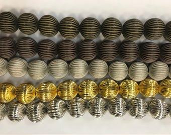 Shiny, Metallic Aluminium beads, 12mm, light weight, 26beads