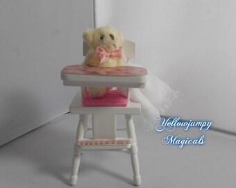 1/2th miniature dollhouse Teddy in Baby's highchair