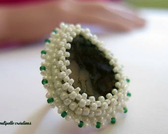 Embroidered Moss agate stone ring