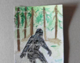 Hand Painted, ACEO, Big Foot In Woods, sasquatch decor, wall art,  Big Foot, collectable card, Fine Art Watercolor by Sharon at HikingTrails
