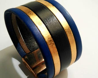 indigo gold leather cuff black and pink with rose gold magnetic clasp