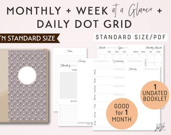 STANDARD Size Monthly-Weekly-Daily Dot Grid TN Printable Booklet Insert - fits Traveler's Notebook Standard Size