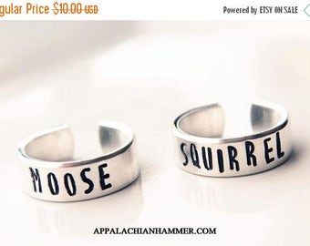 WEEKEND SALE Moose or Squirrel Companion Ring Set, Supernatural, Dean, Sam, Adjustable, Hand Stamped