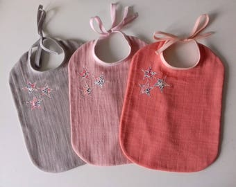 Trio of bibs for baby in cloth diaper and stars in Liberty Wiltshire