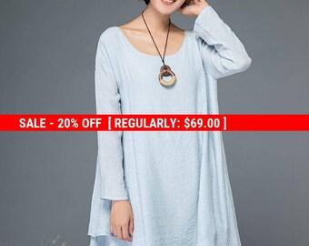 tunic dress, tunic tops, linen tunic, blue tunic, mini tunic, tunic, womens tunic, boho tunic, women tunic tops, mini dress, dress  C1156