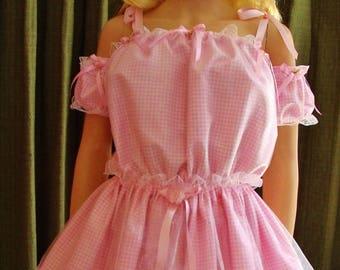 S-4X Sissy Pink Skirt & Top Dress Slip Bra M L XL 2XL 3XL 2X 3X 4X Harajuku Kawaii Cosplay