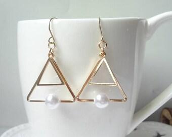 Pearl Earrings Dangle Chain Earrings Delicate Earrings Triangle  Earrings 0469