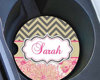 Personalized car coaster, Monogram cup holder coaster, Chevron car decor, Taupe chevron hot pink floral, Pink auto decoration for her (1008)