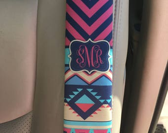 Personalized seat belt strap cover, Aztec car decor, Monogrammed interior car accessories, Red and navy chevron, Gift for women (1273)