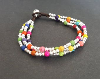 Chain Colorful  Silver Stone  Bracelet