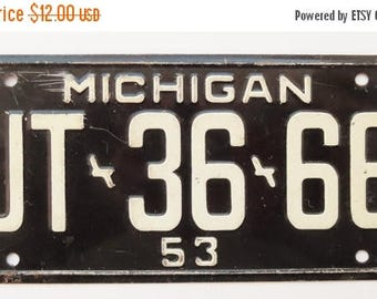 ON SALE Vintage, Michigan, 1953, Wheaties, Bike Plate, Bicycle, License Plate, Cereal Premium, Miniature, Tin, Embossed, Collectibles