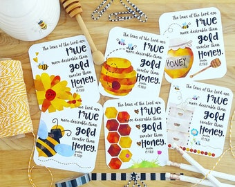 Sweeter than honey Psalm 19.9&10 honey bees honeycomb inspired scripture set of 6 journaling / bible journaling cards