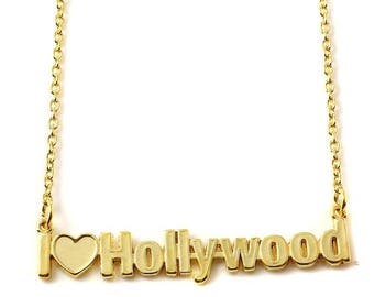 ON SALE I Love Hollywood nameplate Necklace in Sterling Silver