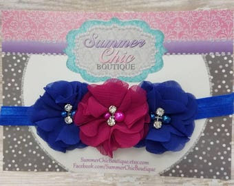 Royal Blue and Plum Berry Baby Headband, Infant Headband, Newborn Headband -Royal Headband, Royal and Purple Headband,Chiffon and Pearls