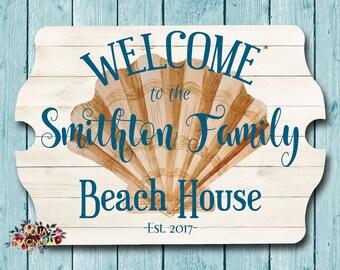 Custom House Sign - Personalized - Seashell Beach House Sign - Beach Cottage - Home Decor - Seashells - Family Beach House Sign