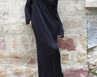 SALE ON 20 % OFF Black dress/ Black Maxi dress/ Turtleneck dress/ Long dress/ Long sleeve dress/ Hooded dress/ Oversized dress/ Day dress/ C