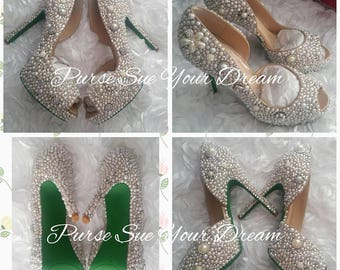 Custom Vintage Inspired Pearl and Swarovski Designed Heels - Swarovski Crystal Heels - Pearl Wedding Pumps  - Pearl Wedding Bridal Shoes