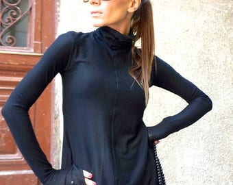 SALE NEW Tencil Sexy Black Turtle neck Top / Exclusive Soft Tencil Fabric / New Generation Fibre by AAKASHA A08396