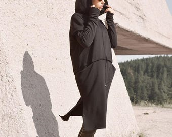 New Black Extravarant Maxi Zipper Hoodie / French Terry Cotton / Side Pockets Jacket by Aakasha A08604