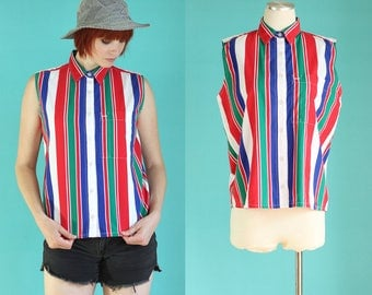 Vintage 90s Striped Shirt - Sleeveless Blouse - Colorful Shirts - Summer Blouse - Red White and Blue Sleeveless Top - Size Med / Large