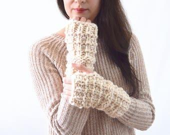 Crochet Chunky Fingerless Arm Warmers Gloves Mittens | The Lenolas