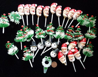 Vintage Christmas Cupcake Picks Santa Trees and Snowmen 30 plus