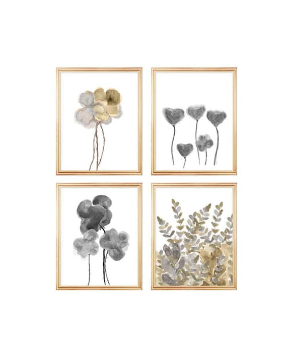 Natural Wall Decor, 8x10 Set of 4 Gold and Silver Floral Watercolor Prints