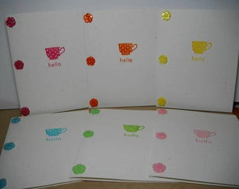 Button Teacup Hello (hand-stamped) 6-Card Box