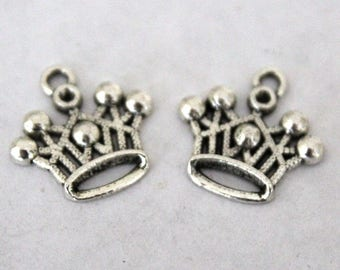 6 Silver Crown Charms/Pendants