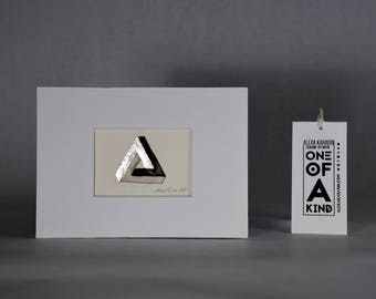 Original Painting of Penrose Triangle / Ink Painting with Silver Leaf / ACEO