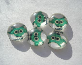 10mm Cartoon Owl Printed Glass Cabochons, Half Round Dome Cabochons, Pack of 10 White Cabochons, C330