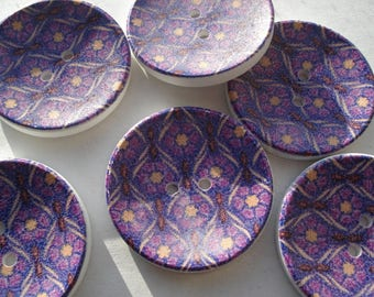 40mm Wooden Sewing Buttons, 2-Hole Round Purple Flower Pattern, Pack of 5 Wooden Buttons, W4033