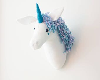 Faux taxidermy head white unicorn wall decor Hunting Trophy animal head with a purple and teal mane