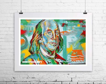 Franklin  Signed Limited Edition giclee print on canvas, made from original painting, one hundred bill, home, deco, best gift