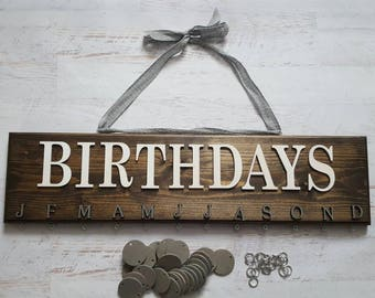 Dark Brown Stained Birthday Board , Celebration Reminder Board , Birthday Calendar , Custom Wall Art , Important Date , HAVENSPLACE