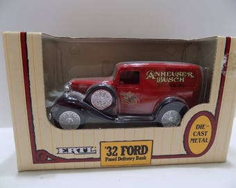 Ertl '32 Ford Panel Delivery Coin Bank NIB Anheuser Busch Die Cast Metal