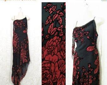 35% OFF DRESS SALE Vtg 90s Asymmetrical Bias Cut Silk Burnout Gothic Gown by Cache sz 4