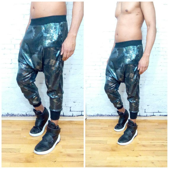 Sequin Jogger Camo Printed Pant Harem Jersey Drape Dropped Crotch