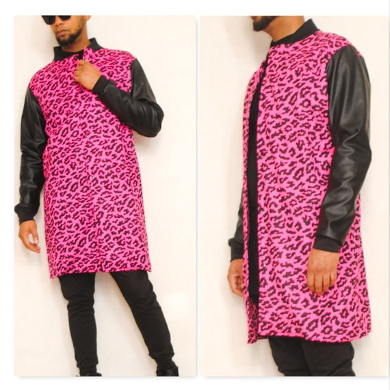 This a very cool Pink Leopard/Cheetah Printed fully Mesh Lined Long Bomber Jacket  With Faux Leather Sleeves.( Falls Above the Knee)