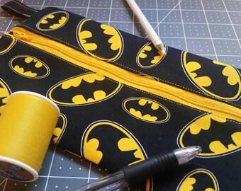 Batman themed zipper pencil pouch