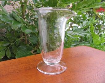"Antique Free Blown Glass Beaker Copper Wheel Engraved Apothecary Beaker4 1/4"""