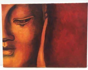 Buddha Art - Original Painting - Oil Painting - Original Art - Canvas Painting 12x16