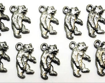 Set of 10 Pewter Bear Charms - 0082