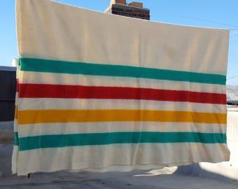 Vintage Horner Wool Blanket Hudson Bay Style Stripe Eaton Rapids Michigan Cabin Camp Lodge Decor 7 Foot