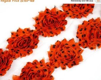 "Summer SALE 10% OFF 2.5""  PRINT Shabby Rose Trim- Orange Black Dots - Orange Polka Dots Flowers - Chiffon Flowers -Hair Accessories  Supplie"