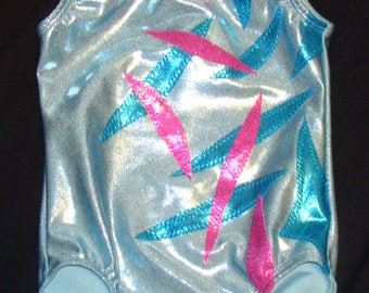 Gymnastics leotard Girls size 4-5 in light blue mystique with turquoise & pink mystique overlay