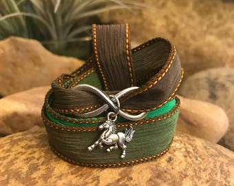 Infinity Horse green silk ribbon wrap equestrian bracelet